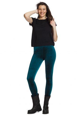 Enfärgade blå velour leggings
