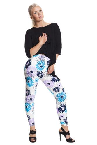 Blommiga blå leggings - fraktfritt online !