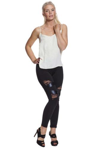 Leggings med läder och fri frakt online !