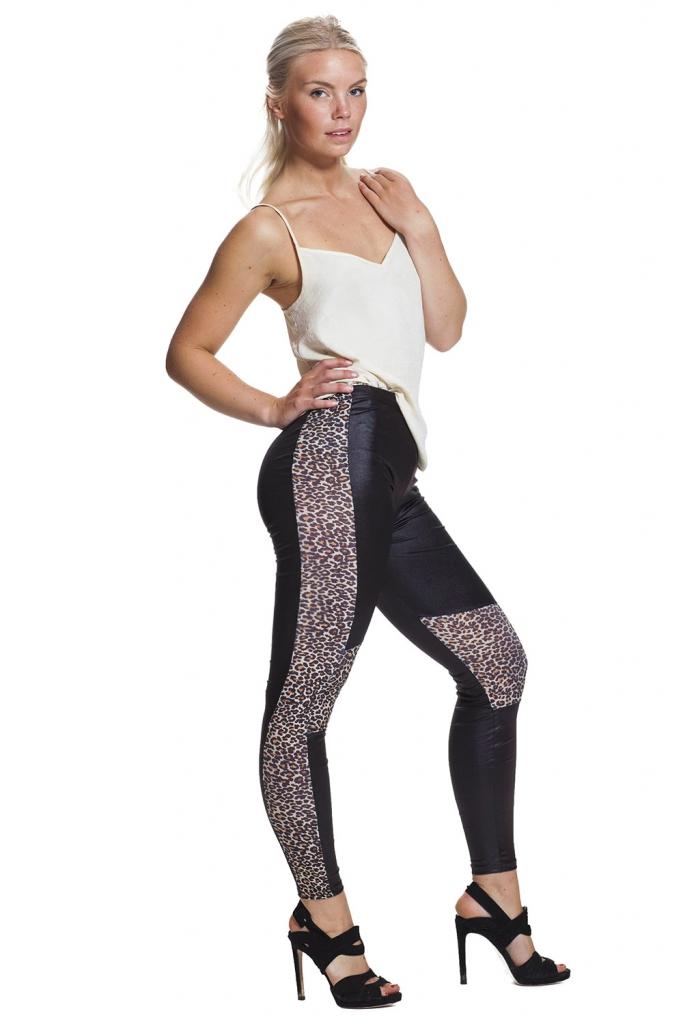 Leopard leggings med fri frakt online