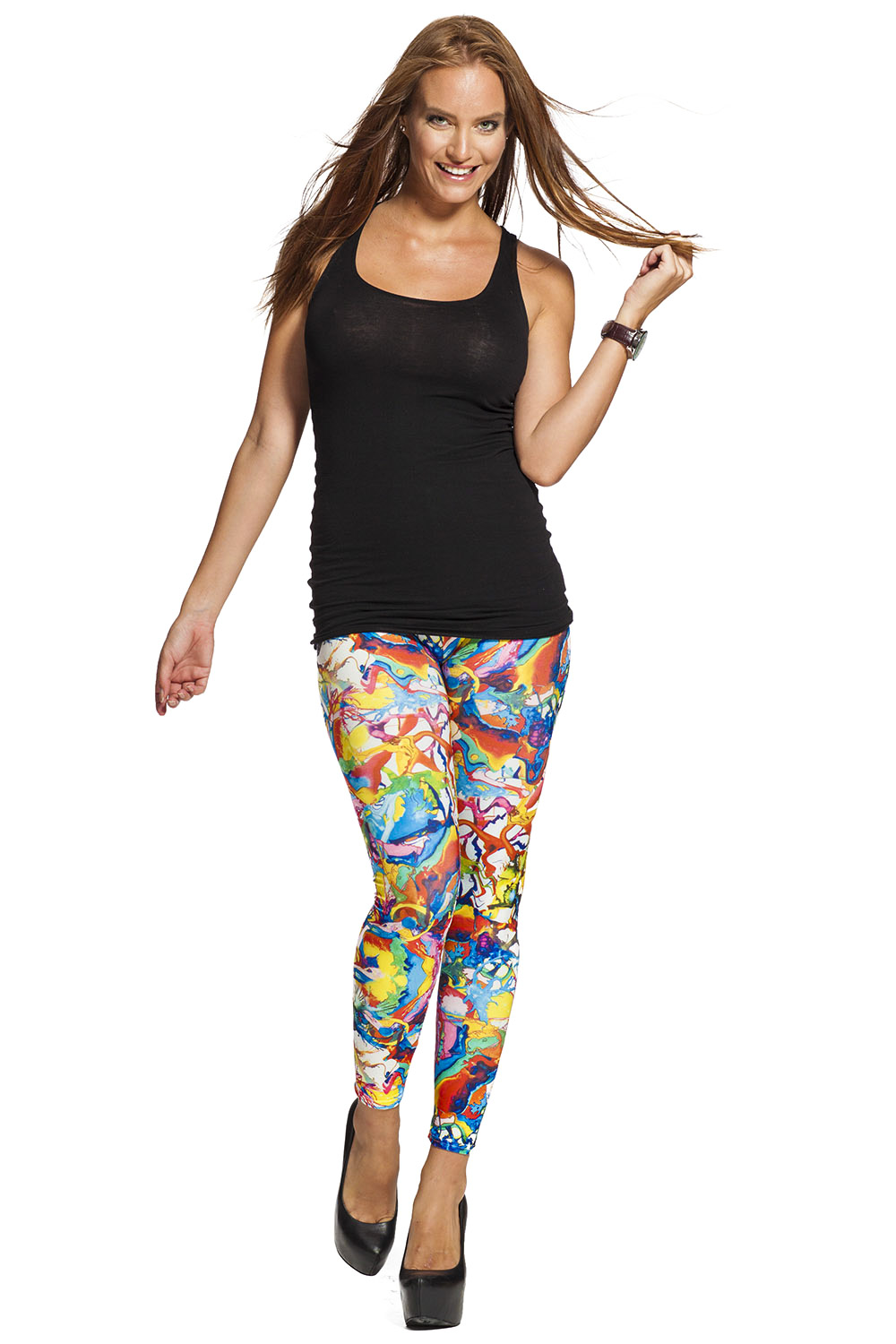 Graffiti leggings online med fri frakt