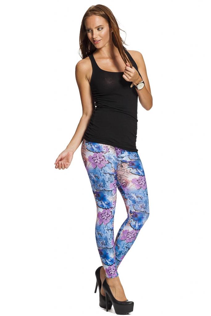 Blå vackra leggings med fri frakt online