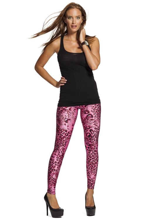 Läckra rosa leggings med leopardmönster