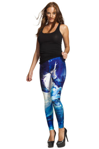 Blå Unicorn leggings - fri frakt online !