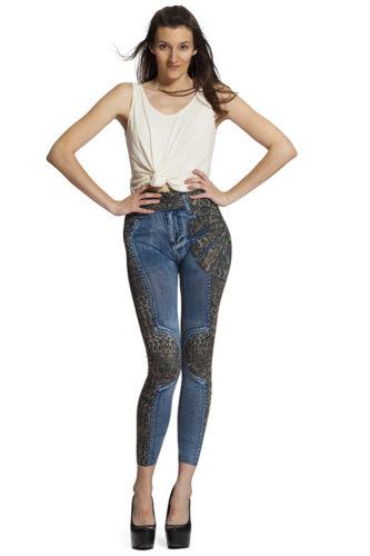 Snygga jeansleggings med leopardmönster !