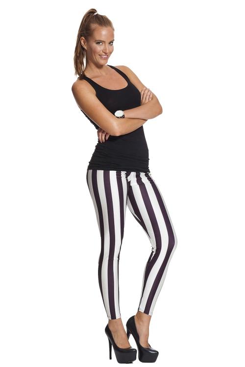 Randiga svartvita leggings - fri frakt online !