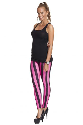 Randiga rosa och svarta leggings - fraktfritt online !