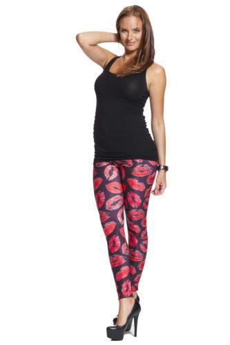 Svarta leggings med röda läppar - bra pris och fri frakt online !