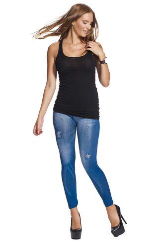 Blå klassiska jeansleggings / jeggings online !