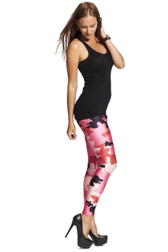 Leggings i rosa med camouflage och army design - fri frakt online hos LeggingStore.se
