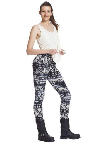 Svartvita leggings med grafiskt mönster och fri frakt online