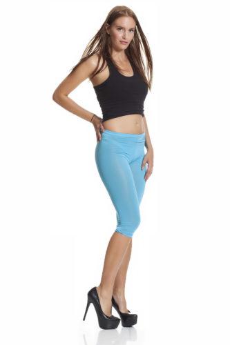 Blå capri leggings för sommaren fri frakt online