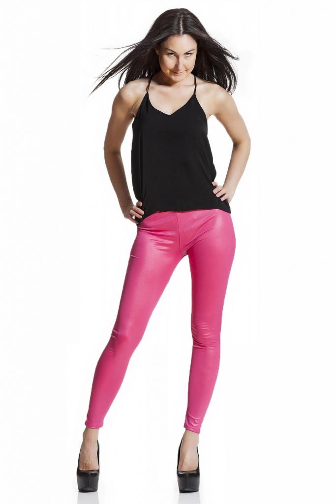 rosa Faux läder leggings i läderimitation fraktfritt online