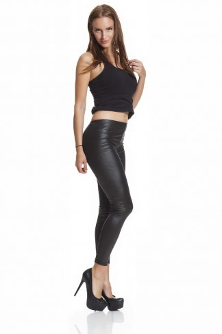 Svarta leggings i faux läder leather online med fri frakt
