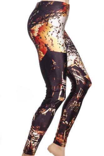 Läskiga leggings / tights med spöken, skelett och dödskallar