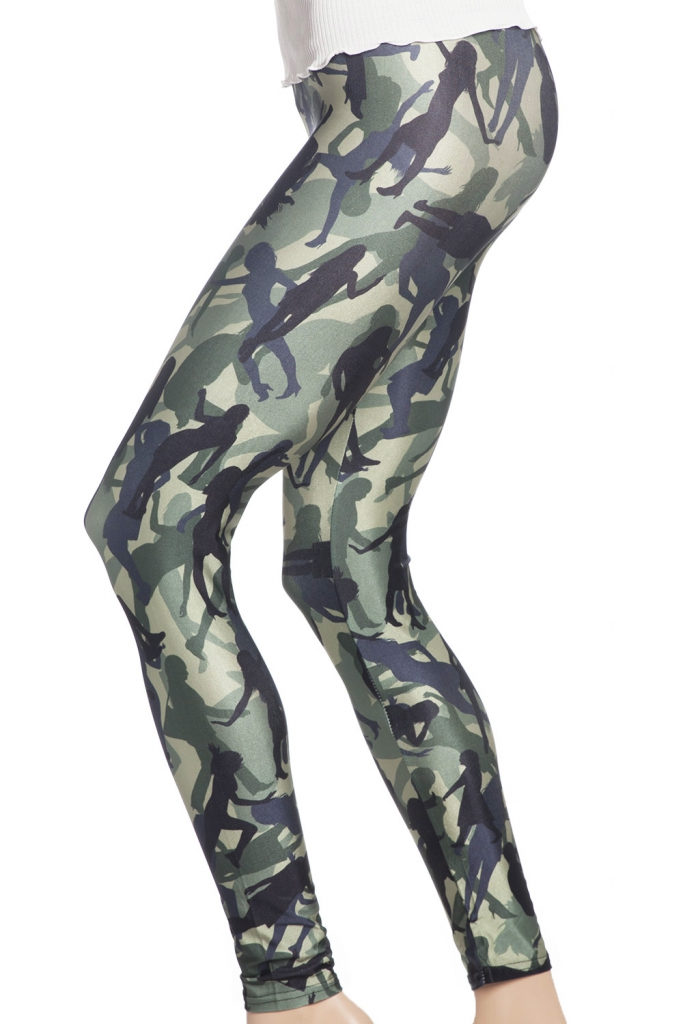 tights leggings med army cammo camouflage mönster i grönt