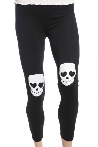 svarta tights leggings med vita dödskallar