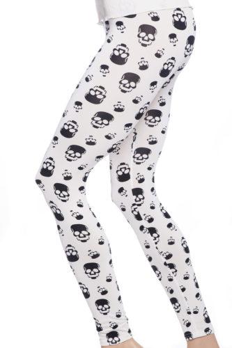 Vita leggings tights med svarta dödskallar