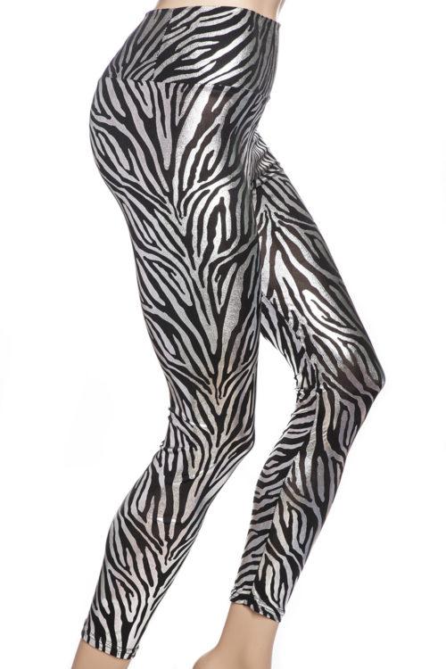 Silver zebra leggings tights online Sverige