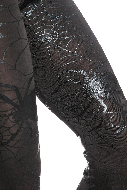 snygga coola svarta leggings tights med spindelväv och spindlar