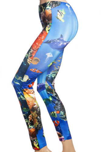 Blå tights och leggings med fiskar, hajar och akvarium online sverige