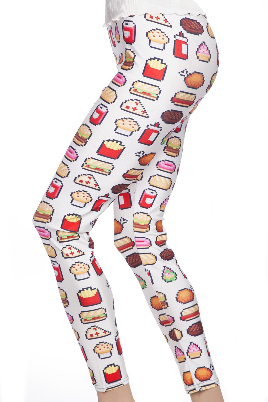 Roligr leggings tights med mat hamburgare och korv