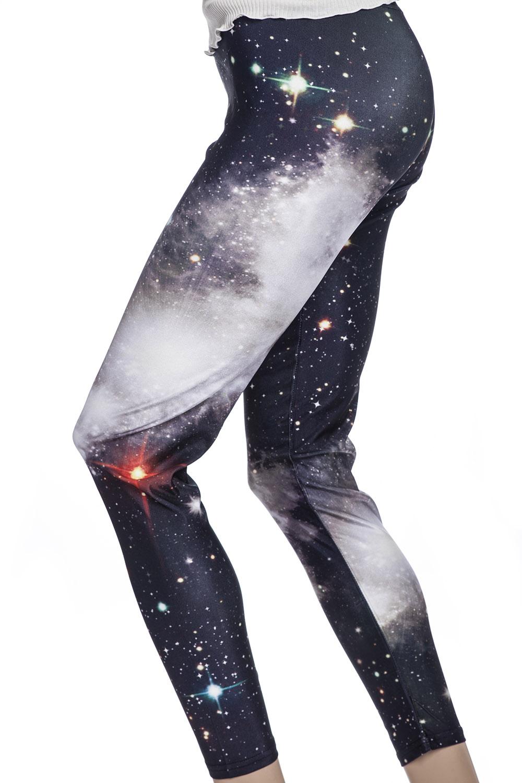 Snygga galaxy leggings och tights med svart rymd och stjärnor