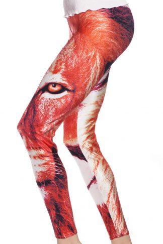 Tights och leggings i röd nyans med lejon