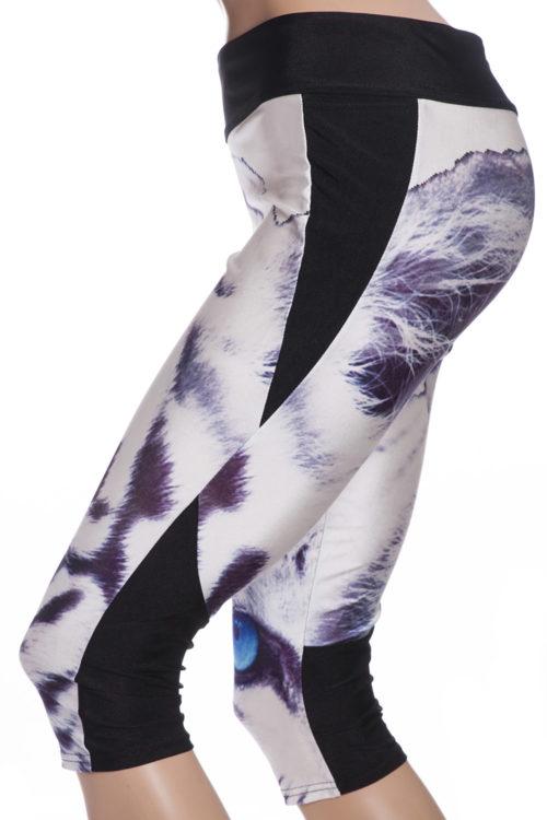 capri sport leggings och tights med tiger och blå ögon