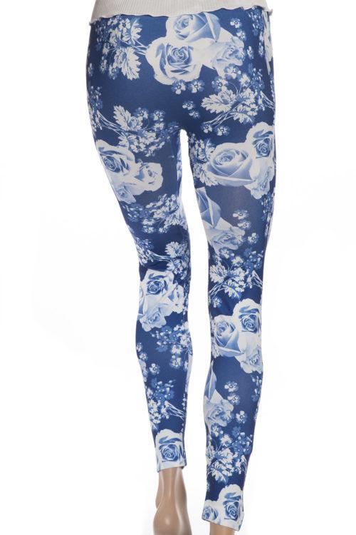 Blå leggings tights med rosor och blommor