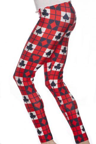 Röda leggings med mönster av poker och kortspel i svart och vitt
