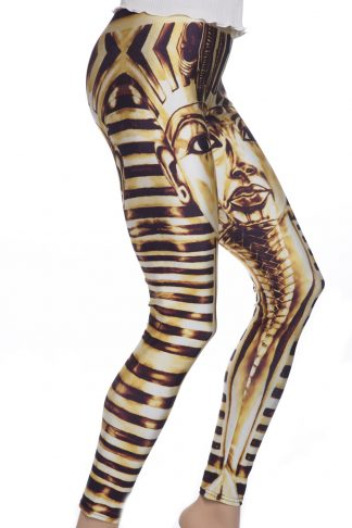 Leggings i guld med Egytiens farao TutAnkAhmon
