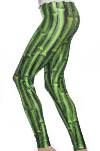 Tights leggings i grönt med mönster av bambu och djungel