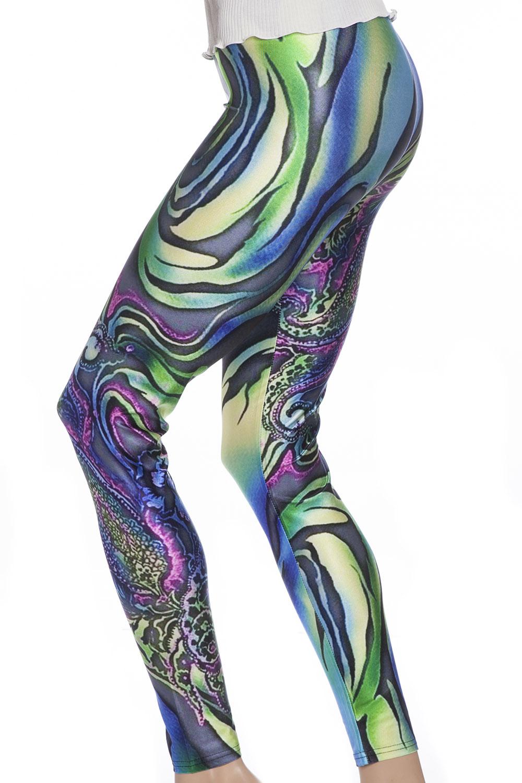 Hippie tight leggings med psykedeliskt mönster