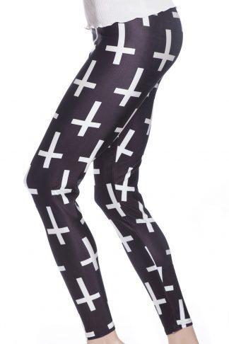 Svarta tights och leggings med vita kors online webshop