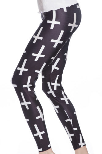 Svarta tights och leggings med vita kors online webshop