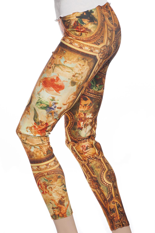 Vackra gula orangea leggings tights med mönster