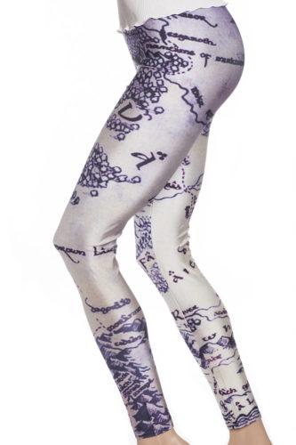 Leggings och tights med fantasy karta