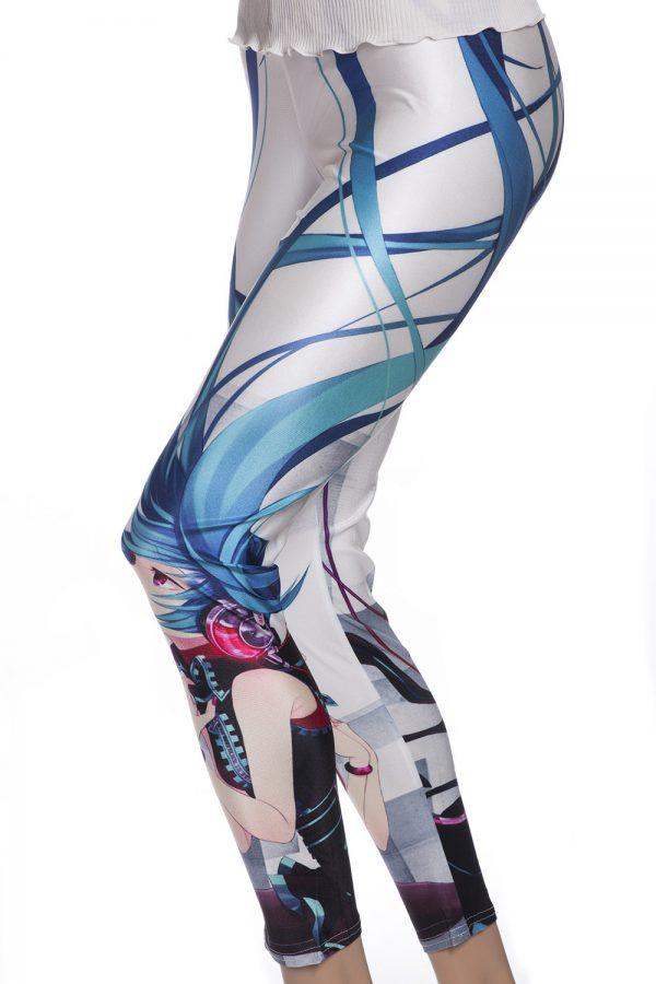 Vita leggings manga tights blått långt hår