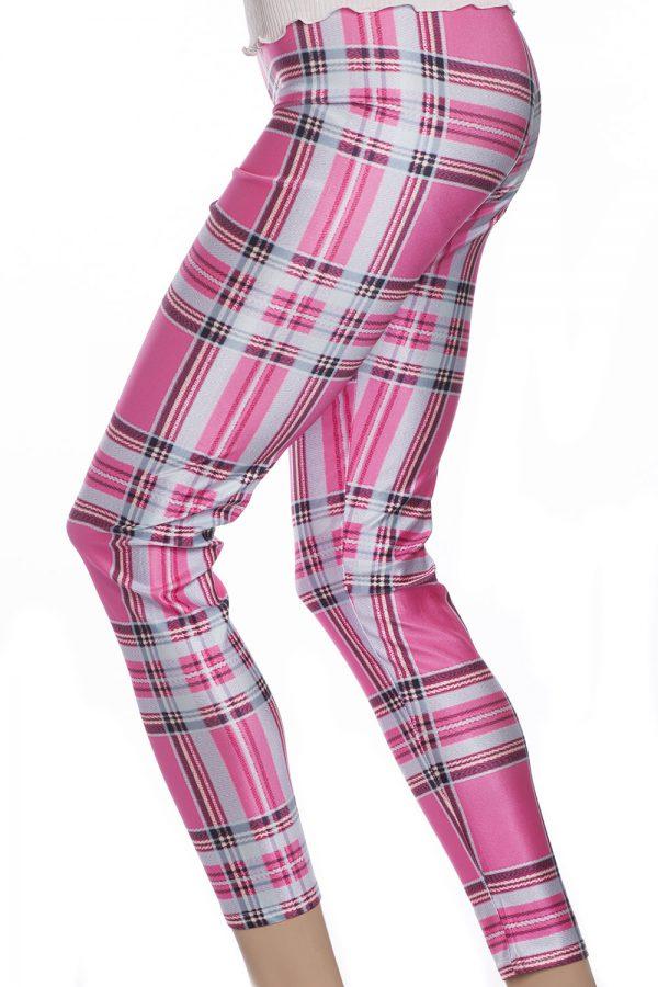 Tights leggings i rosa med skotska rutor