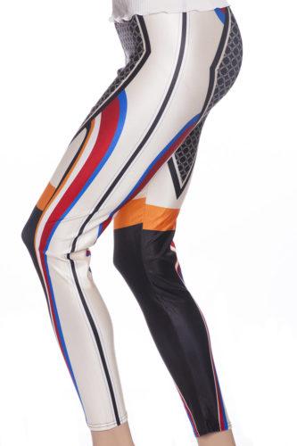Tuffa mönstrade leggings tights i svart orange och rött