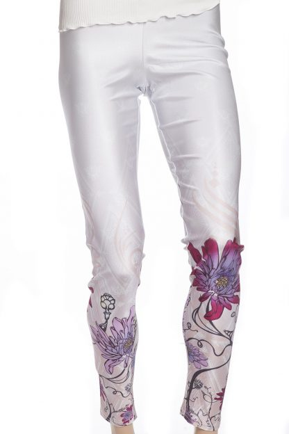 Vita leggings tights med rosa och lila blommor