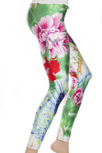 Tights leggings med vacker påfågel och blommor i grönt, rött, rosa och blått