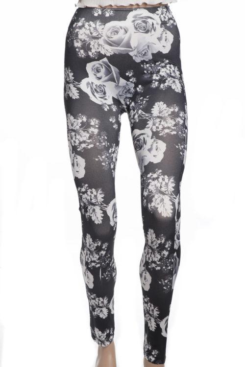 Snygga svarta tights leggings med vita rosor blommor