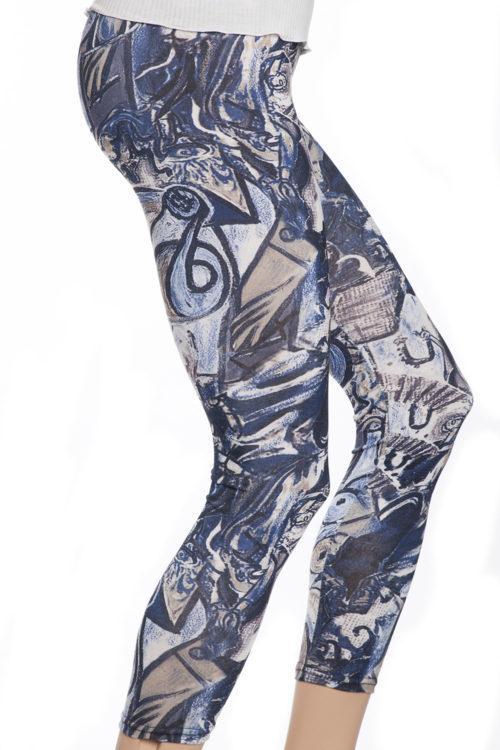 Blå och gråa tights leggings med graffiti mönster