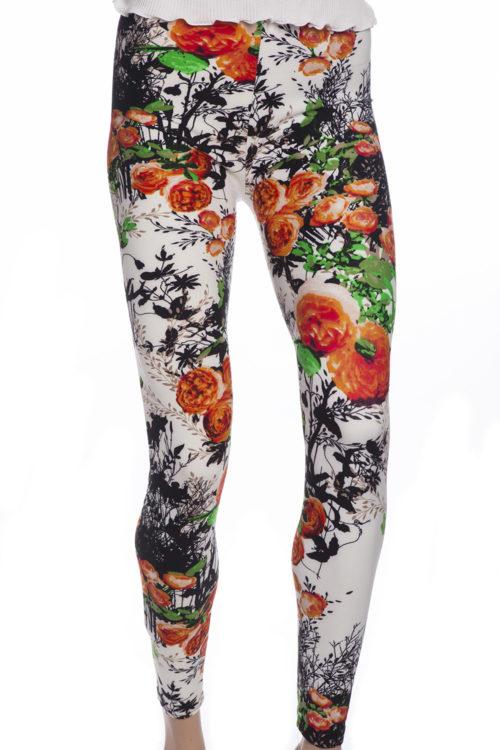 Sommartights leggings med orange rosor och blommor