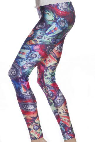Blå, lila och rosa graffiti leggings tights