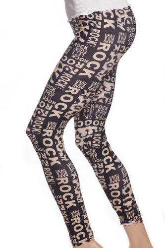 Svarta tuffa coola tights leggings med bokstäver ord ROCK