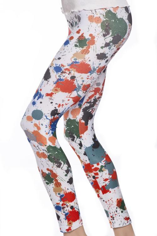 Tights leggings med färgstänk i orange, rött, blått, gult och grönt