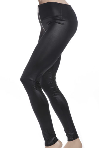 Svarta faux leather blanka tights leggings med dragkedja i silver
